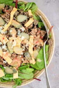 Slimming World Low Syn Big Mac in a bowl