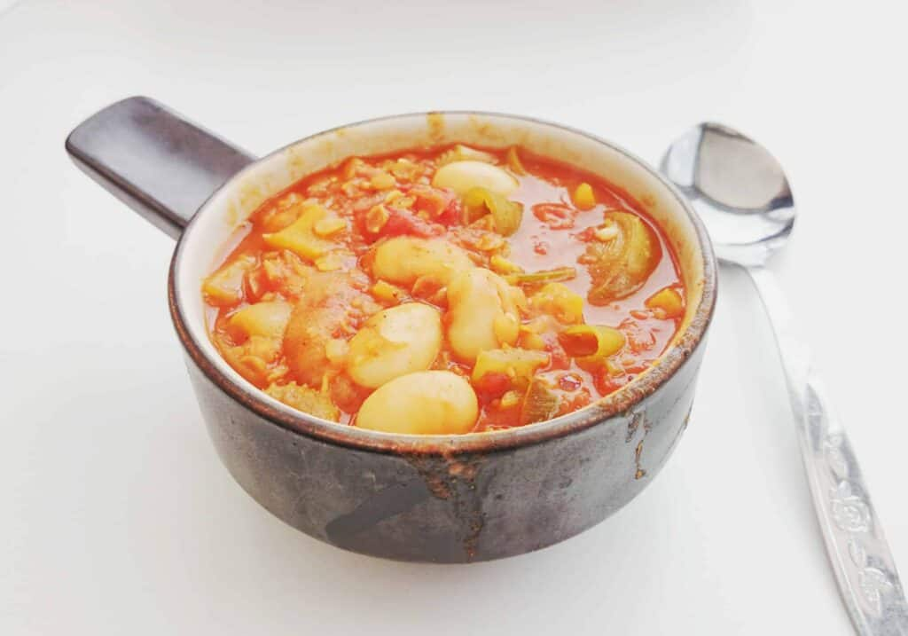 My Lazy Saturday 20 Minute Fat Free Vegetarian Chinese Spice Butter Bean, Lentil & Vegetable Soup Recipe