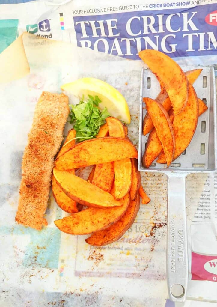 slimming world lemon and parmesan crust salmon and sweet potato chips