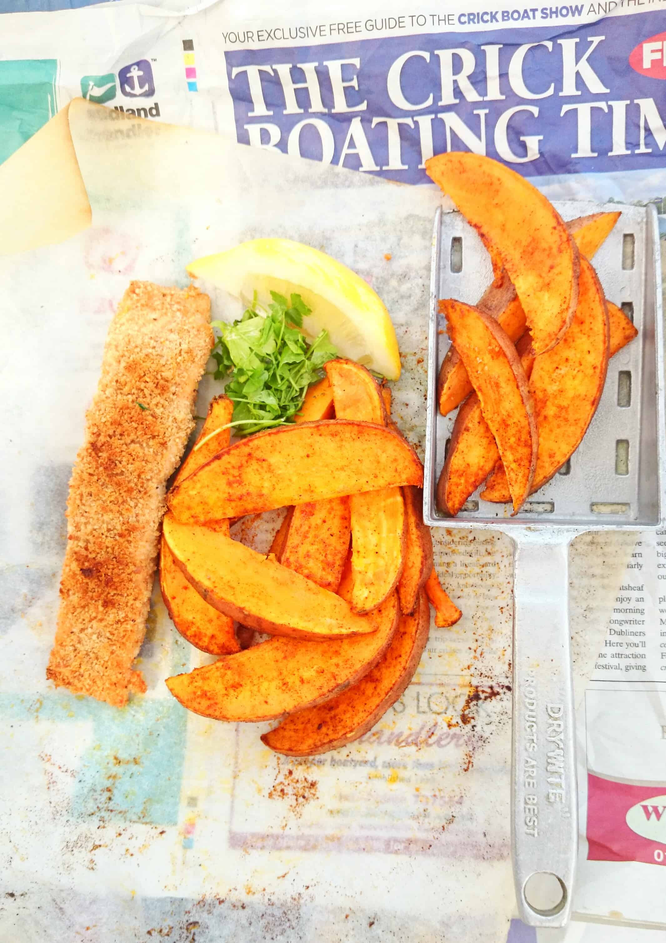 Posh Fish & Chips: Lemon & Parmesan Crust Salmon with Chillied Sweet Potato Chips – SERVES 4
