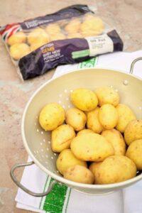 Slimming World Syn Free Hasselback Garlic & Cheese Baby Potatoes prep