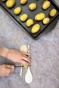 Slimming World Syn Free Hasselback Garlic & Cheese Baby Potatoes prep