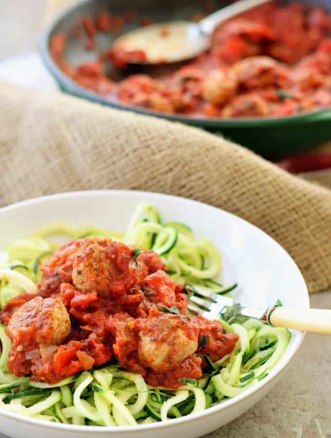Slimming World Syn Free Turkey Meatballs in Tomato Sauce with Courgetti