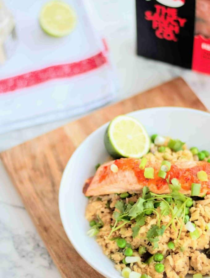 SLIMMING WORLD HORSERADISH EGG FRIED RICE WITH SALMON CHILLI & GINGER SAUCY FISH CO SAUCE