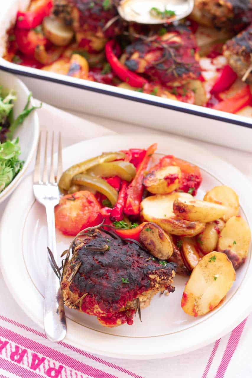 chilli chicken with vegetables on plate