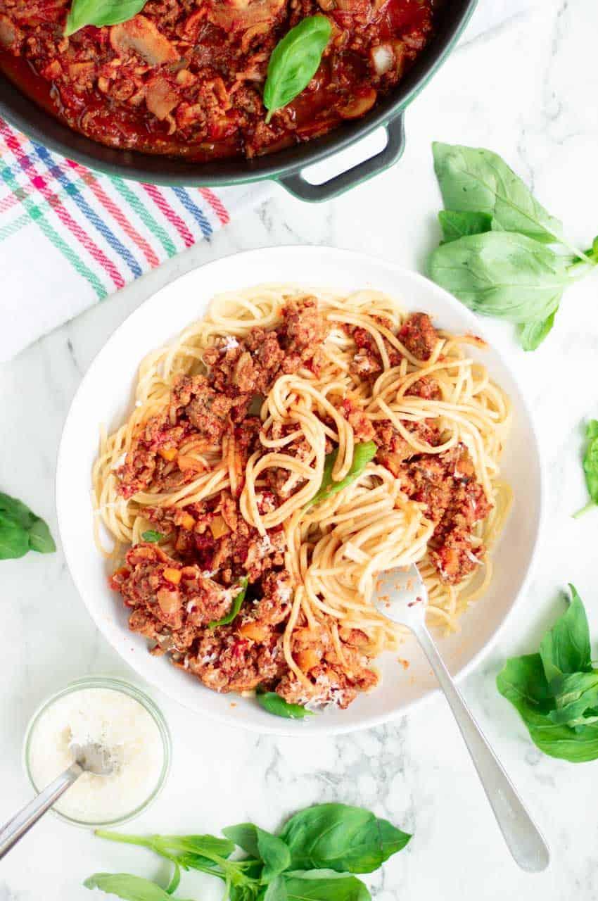 Eating Slimming World Spaghettu Bolognese.