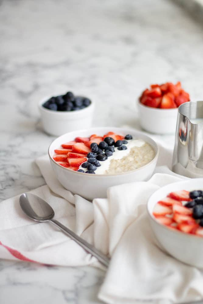 slow cooked porridge topped with fruit